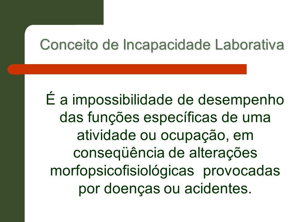 Conceito de Incapacidade Laborativa É a impossibilidade de desempenho das funções específicas de uma atividade ou ocupação, em conseqüência de alteraç