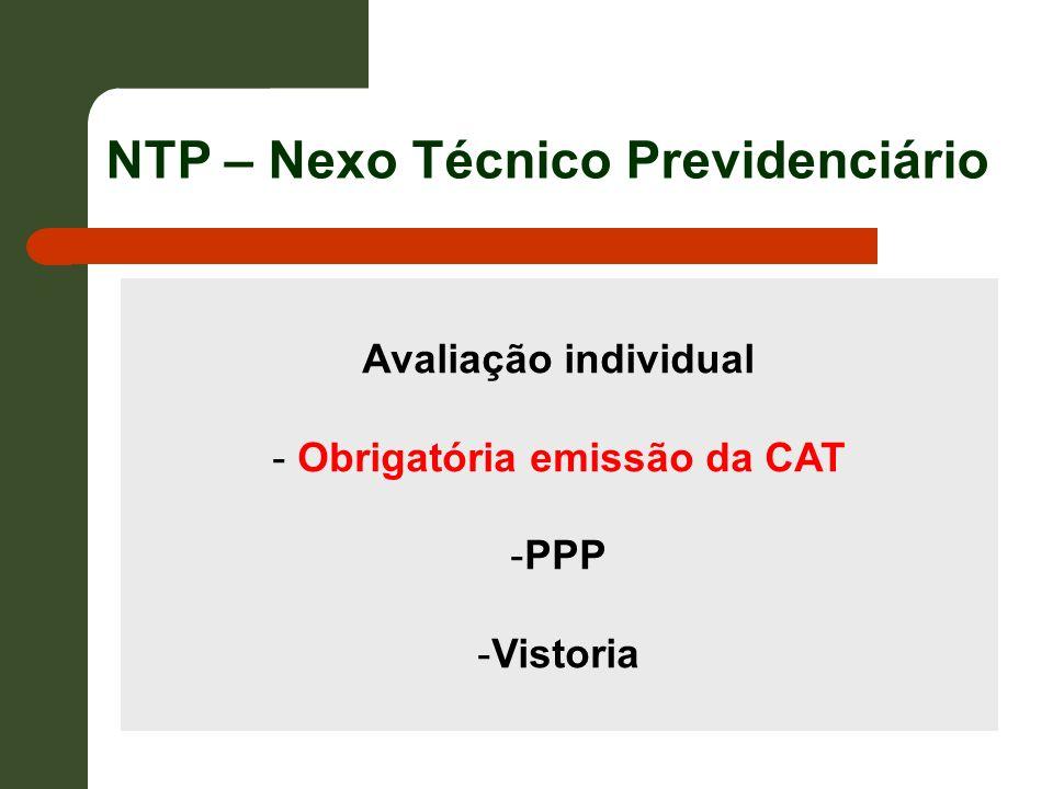 Avaliação individual - Obrigatória emissão da CAT -PPP -Vistoria NTP – Nexo Técnico Previdenciário