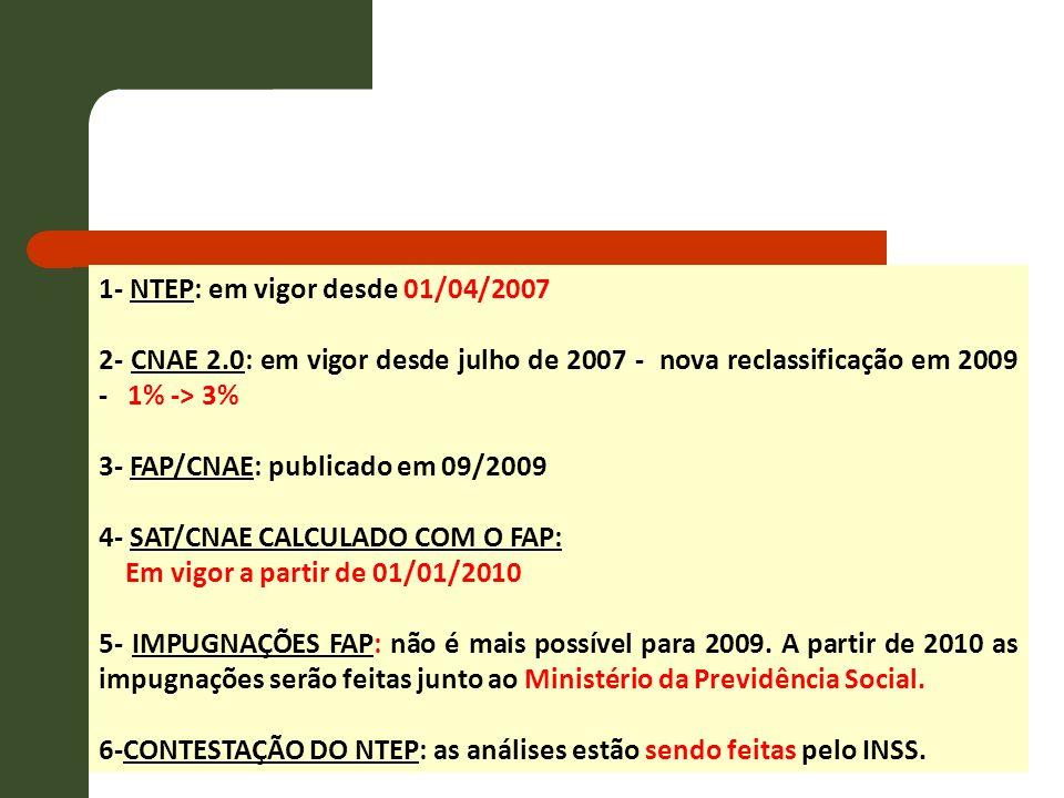 1- NTEP: em vigor desde 01/04/2007 2- CNAE 2.0: em vigor desde julho de 2007 - nova reclassificação em 2009 - 1% -> 3% 3- FAP/CNAE: publicado em 09/20
