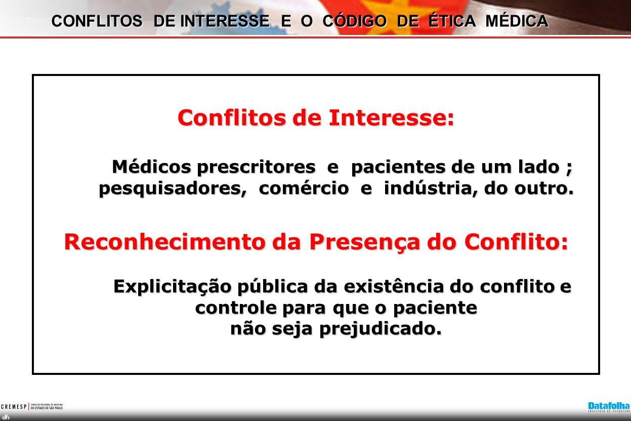 18 Conflitos de Interesse: Médicos prescritores e pacientes de um lado ; pesquisadores, comércio e indústria, do outro. Reconhecimento da Presença do