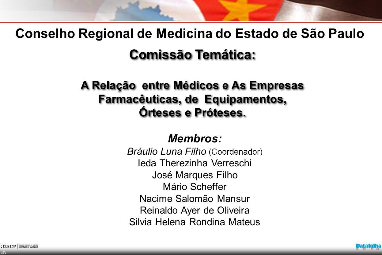 19 Comissão Temática: A Relação entre Médicos e As Empresas Farmacêuticas, de Equipamentos, Órteses e Próteses. Conselho Regional de Medicina do Estad