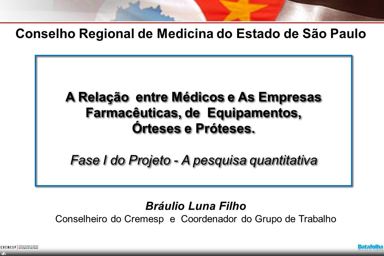 2 A Relação entre Médicos e As Empresas Farmacêuticas, de Equipamentos, Órteses e Próteses. Fase I do Projeto - A pesquisa quantitativa A Relação entr