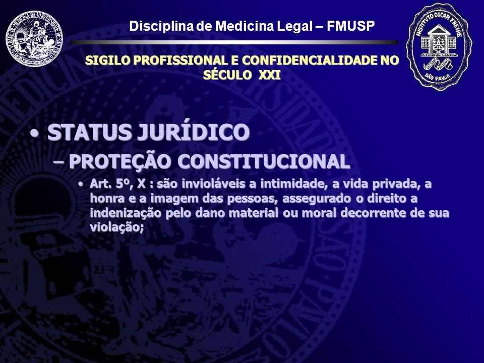 Disciplina de Medicina Legal – FMUSP SIGILO PROFISSIONAL E CONFIDENCIALIDADE NO SÉCULO XXI STATUS JURÍDICOSTATUS JURÍDICO –PROTEÇÃO CONSTITUCIONAL Art