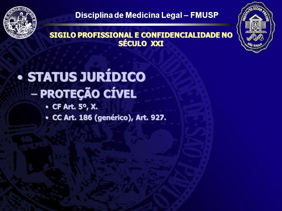 Disciplina de Medicina Legal – FMUSP SIGILO PROFISSIONAL E CONFIDENCIALIDADE NO SÉCULO XXI STATUS JURÍDICOSTATUS JURÍDICO –PROTEÇÃO CÍVEL CF Art. 5º,