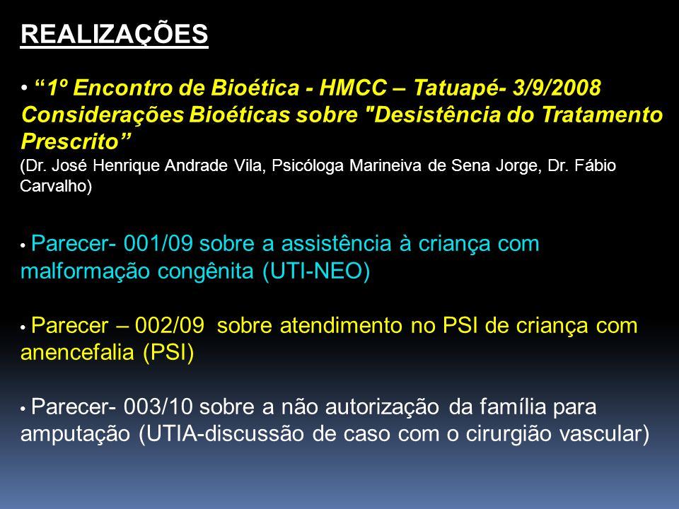 REALIZAÇÕES 1º Encontro de Bioética - HMCC – Tatuapé- 3/9/2008 Considerações Bioéticas sobre