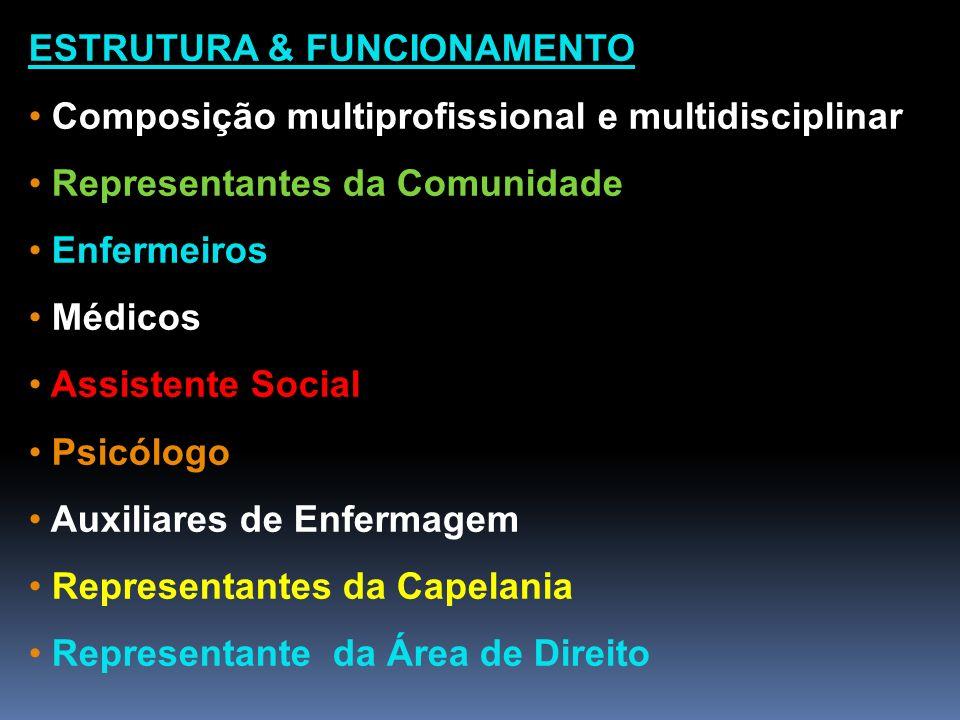 ESTRUTURA & FUNCIONAMENTO Composição multiprofissional e multidisciplinar Representantes da Comunidade Enfermeiros Médicos Assistente Social Psicólogo