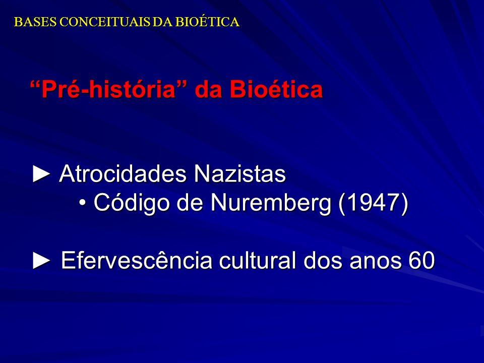 BASES CONCEITUAIS DA BIOÉTICA Pré-história da Bioética Atrocidades Nazistas Atrocidades Nazistas Código de Nuremberg (1947) Código de Nuremberg (1947)