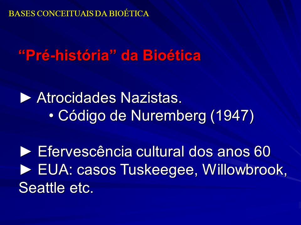 BASES CONCEITUAIS DA BIOÉTICA Pré-história da Bioética Atrocidades Nazistas. Atrocidades Nazistas. Código de Nuremberg (1947) Código de Nuremberg (194