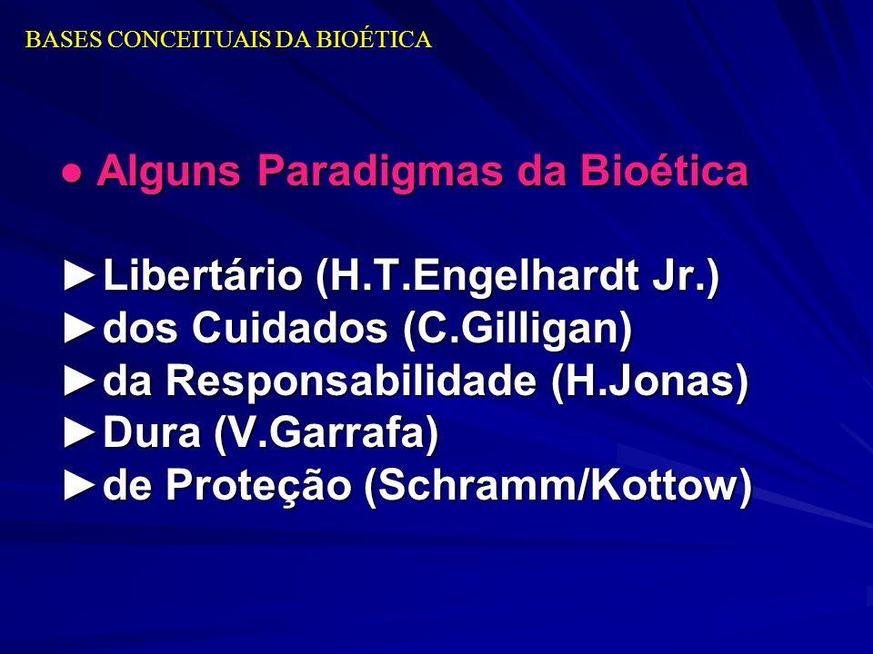 Alguns Paradigmas da Bioética Alguns Paradigmas da Bioética Libertário (H.T.Engelhardt Jr.) dos Cuidados (C.Gilligan) da Responsabilidade (H.Jonas) Du