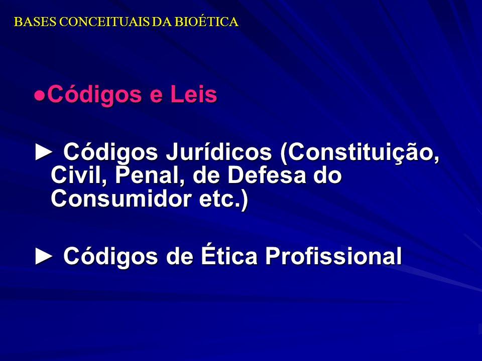 BASES CONCEITUAIS DA BIOÉTICA Códigos e Leis Códigos Jurídicos (Constituição, Civil, Penal, de Defesa do Consumidor etc.) Códigos Jurídicos (Constitui