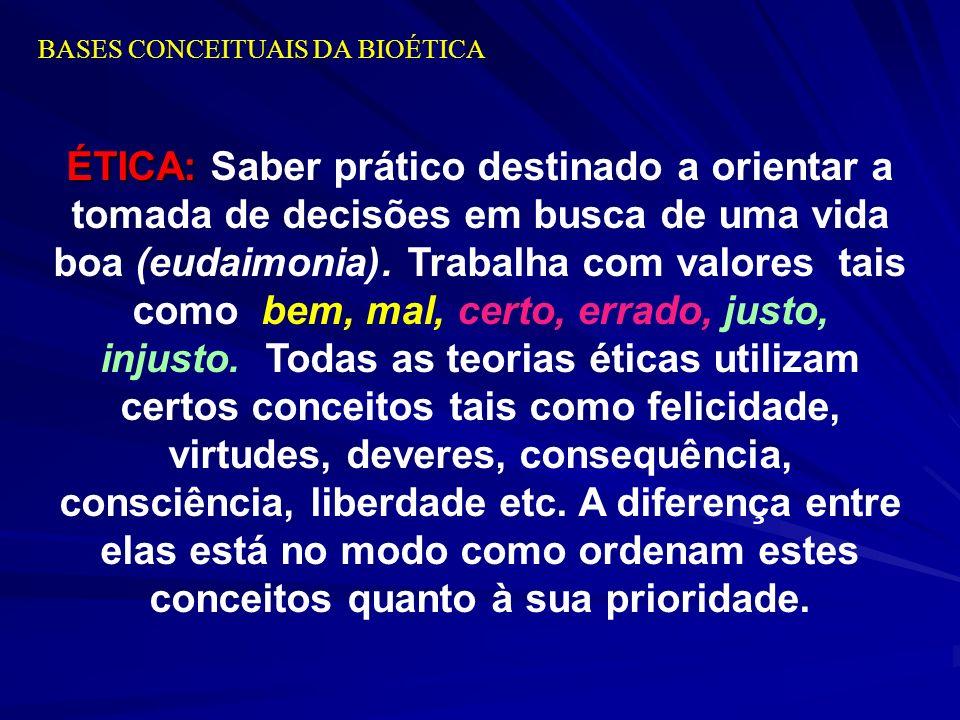 BASES CONCEITUAIS DA BIOÉTICA ÉTICA: ÉTICA: Saber prático destinado a orientar a tomada de decisões em busca de uma vida boa (eudaimonia). Trabalha co