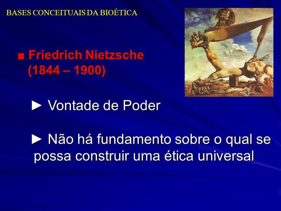 BASES CONCEITUAIS DA BIOÉTICA Friedrich Nietzsche (1844 – 1900) Friedrich Nietzsche (1844 – 1900) Vontade de Poder Vontade de Poder Não há fundamento