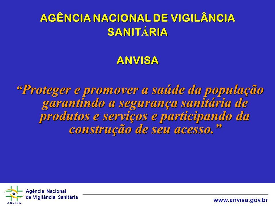 Agência Nacional de Vigilância Sanitária www.anvisa.gov.br AGÊNCIA NACIONAL DE VIGILÂNCIA SANIT Á RIA ANVISA Proteger e promover a saúde da população