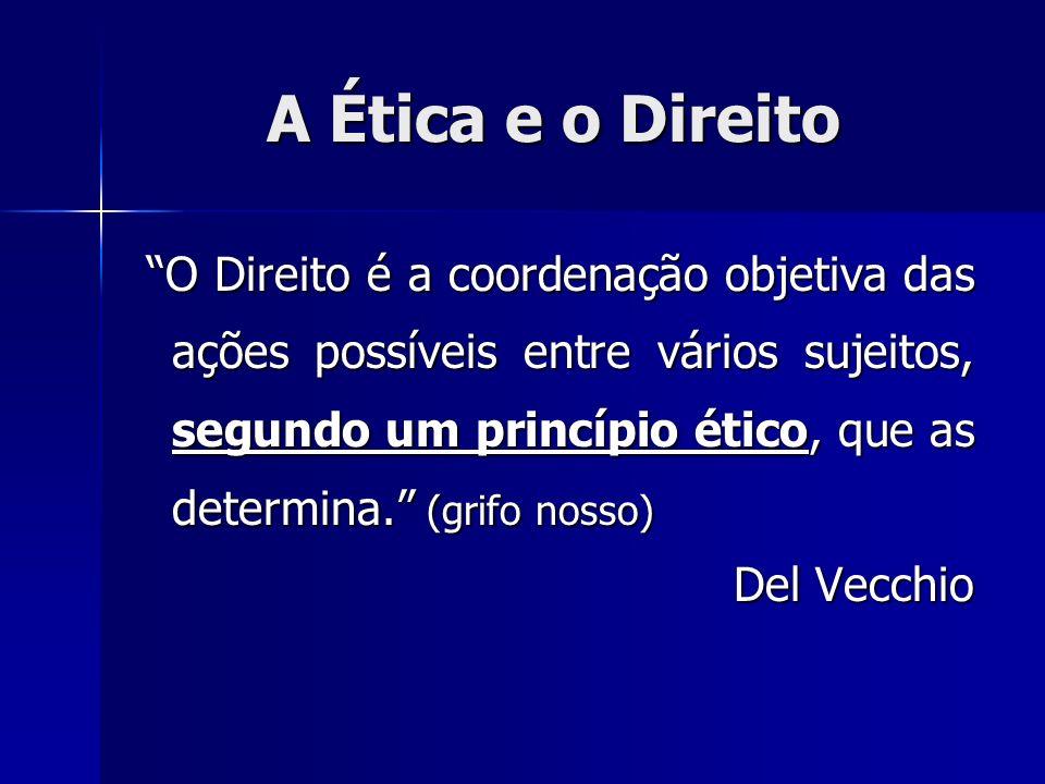 A Ética e o Direito O Direito é a coordenação objetiva das ações possíveis entre vários sujeitos, segundo um princípio ético, que as determina. (grifo