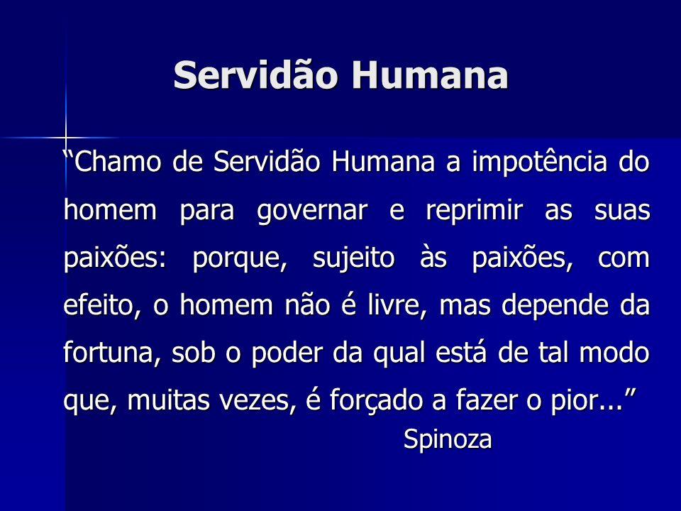 Servidão Humana Chamo de Servidão Humana a impotência do homem para governar e reprimir as suas paixões: porque, sujeito às paixões, com efeito, o hom
