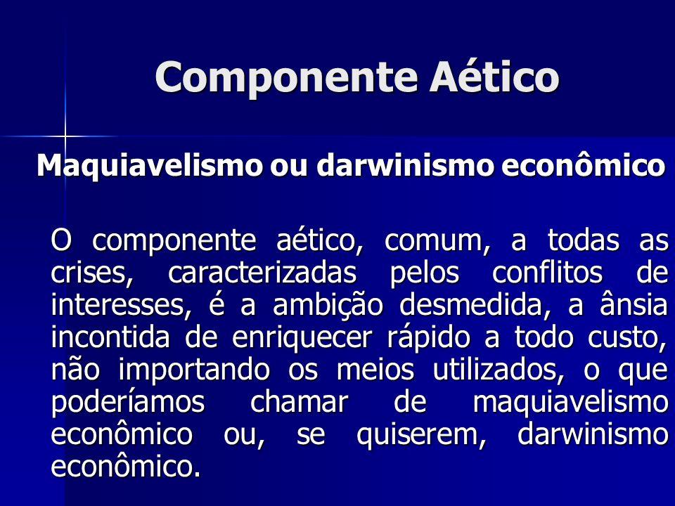 Componente Aético Maquiavelismo ou darwinismo econômico Maquiavelismo ou darwinismo econômico O componente aético, comum, a todas as crises, caracteri
