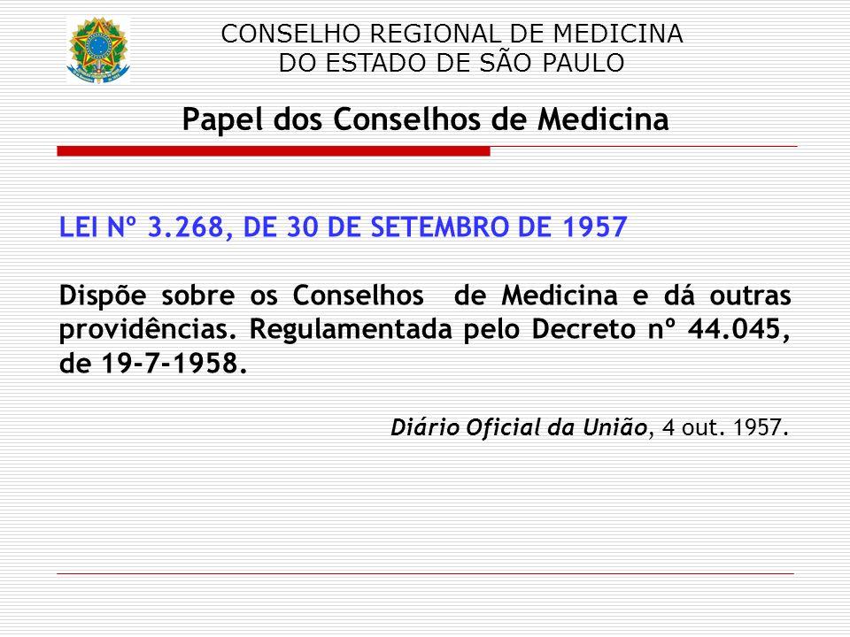 CONSELHO REGIONAL DE MEDICINA DO ESTADO DE SÃO PAULO Papel dos Conselhos de Medicina LEI Nº 3.268, DE 30 DE SETEMBRO DE 1957 Dispõe sobre os Conselhos