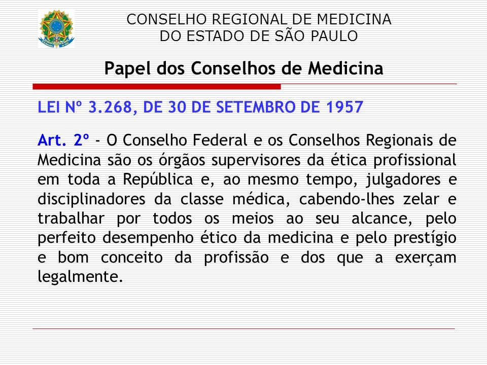 CONSELHO REGIONAL DE MEDICINA DO ESTADO DE SÃO PAULO Papel dos Conselhos de Medicina LEI Nº 3.268, DE 30 DE SETEMBRO DE 1957 Art. 2º - O Conselho Fede