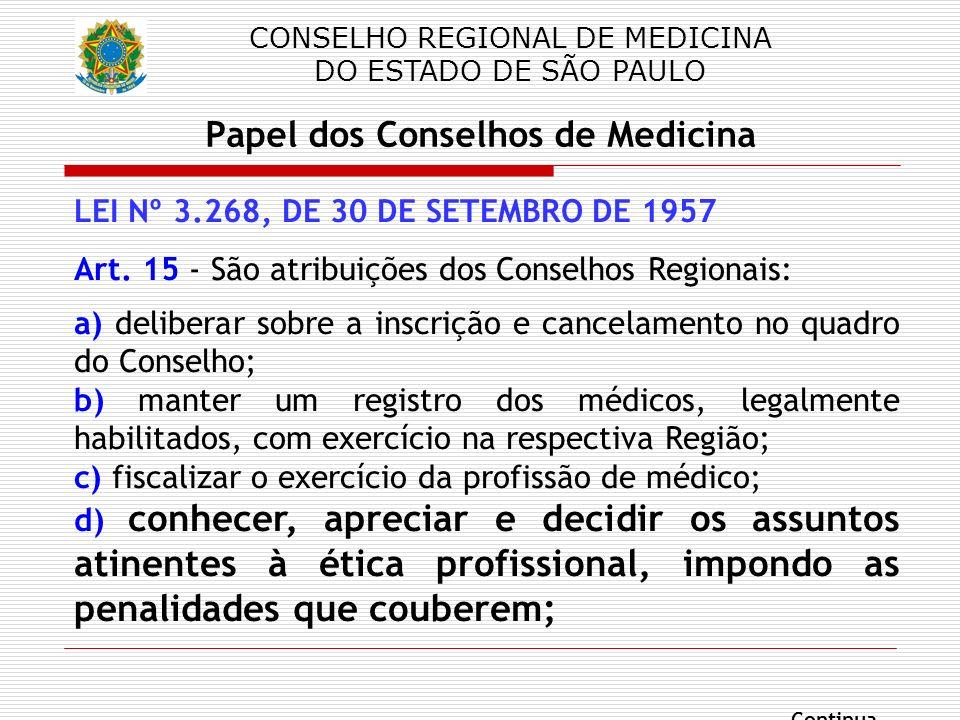 CONSELHO REGIONAL DE MEDICINA DO ESTADO DE SÃO PAULO Papel dos Conselhos de Medicina LEI Nº 3.268, DE 30 DE SETEMBRO DE 1957 Art. 15 - São atribuições