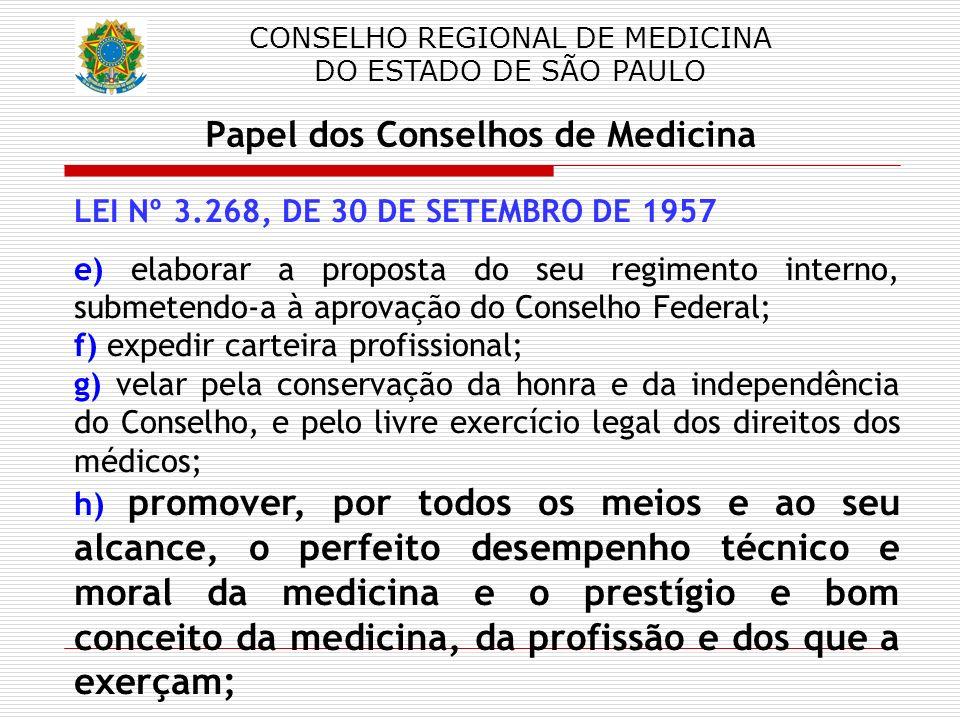 CONSELHO REGIONAL DE MEDICINA DO ESTADO DE SÃO PAULO Papel dos Conselhos de Medicina LEI Nº 3.268, DE 30 DE SETEMBRO DE 1957 e) elaborar a proposta do