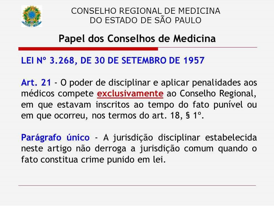 CONSELHO REGIONAL DE MEDICINA DO ESTADO DE SÃO PAULO Papel dos Conselhos de Medicina LEI Nº 3.268, DE 30 DE SETEMBRO DE 1957 Art. 21 - O poder de disc