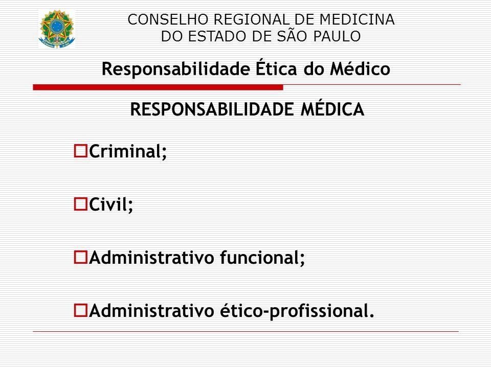 CONSELHO REGIONAL DE MEDICINA DO ESTADO DE SÃO PAULO Responsabilidade Ética do Médico RESPONSABILIDADE MÉDICA Criminal; Civil; Administrativo funciona