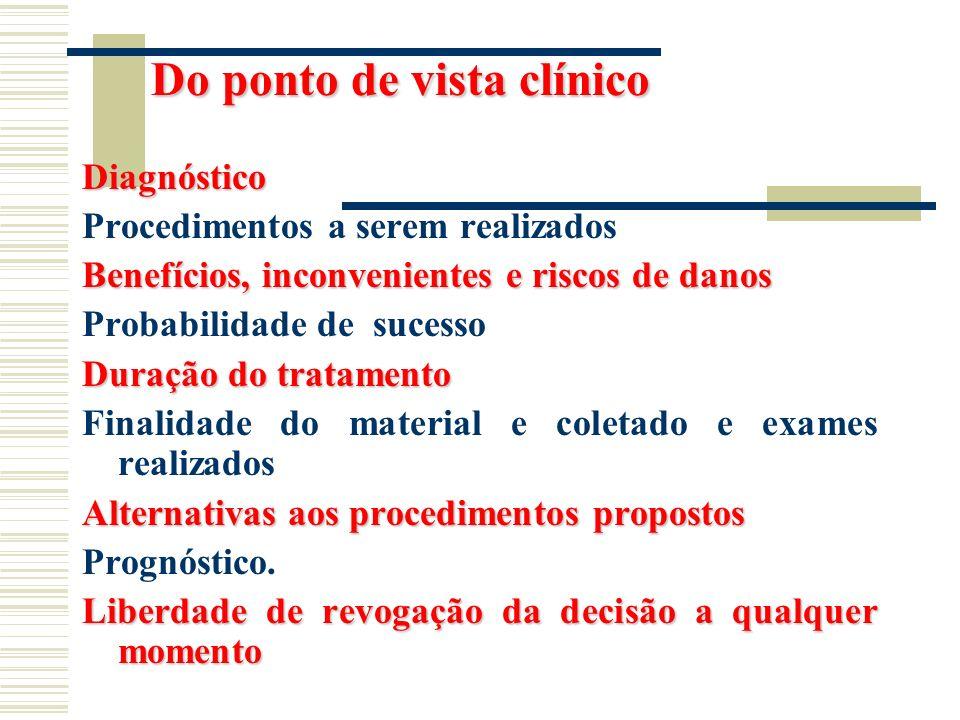 Do ponto de vista clínico Do ponto de vista clínico Diagnóstico Procedimentos a serem realizados Benefícios, inconvenientes e riscos de danos Probabil
