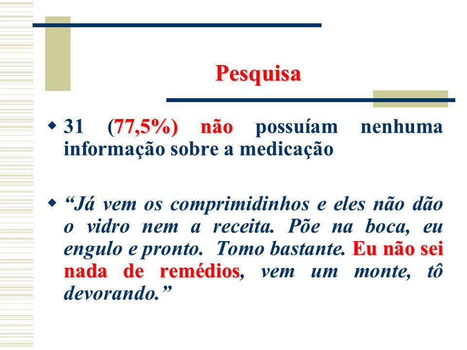 Pesquisa 77,5%)não 31 (77,5%) não possuíam nenhuma informação sobre a medicação Eu não sei nada de remédios Já vem os comprimidinhos e eles não dão o