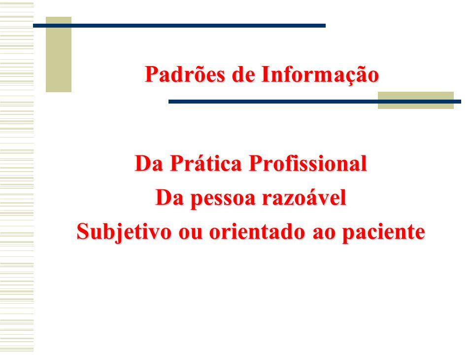 Padrões de Informação Da PráticaProfissional Da Prática Profissional Da pessoa razoável Da pessoa razoável Subjetivo ou orientado ao paciente Subjetiv
