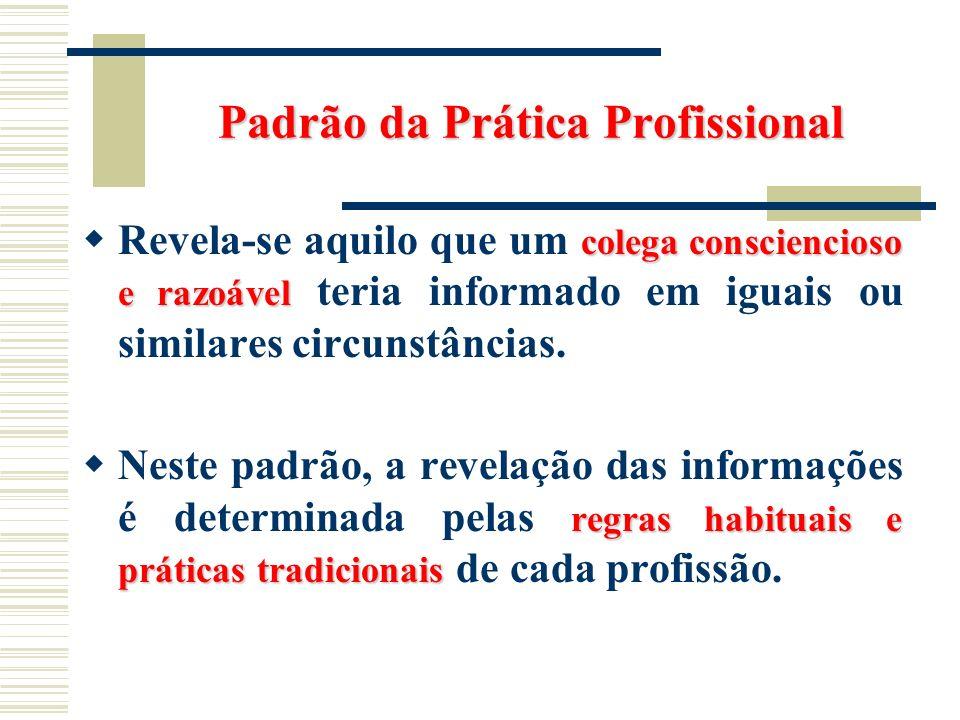 Padrão da Prática Profissional colega consciencioso e razoável Revela-se aquilo que um colega consciencioso e razoável teria informado em iguais ou si