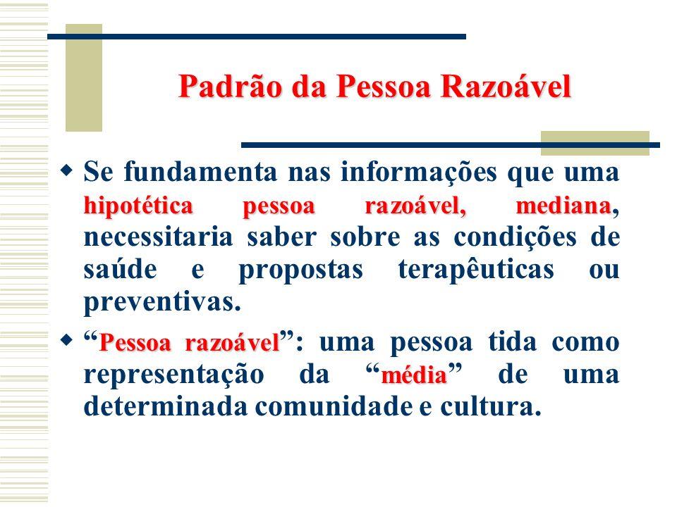 Padrão da Pessoa Razoável hipotética pessoa razoável, mediana Se fundamenta nas informações que uma hipotética pessoa razoável, mediana, necessitaria
