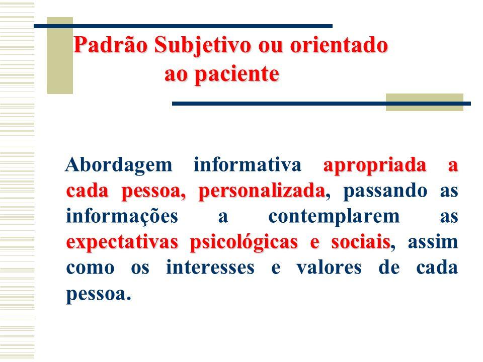 Padrão Subjetivo ou orientado ao paciente Padrão Subjetivo ou orientado ao paciente apropriada a cada pessoa, personalizada expectativas psicológicas