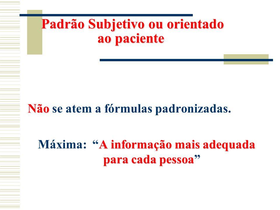 Padrão Subjetivo ou orientado ao paciente Padrão Subjetivo ou orientado ao paciente Não Não se atem a fórmulas padronizadas. A informação mais adequad