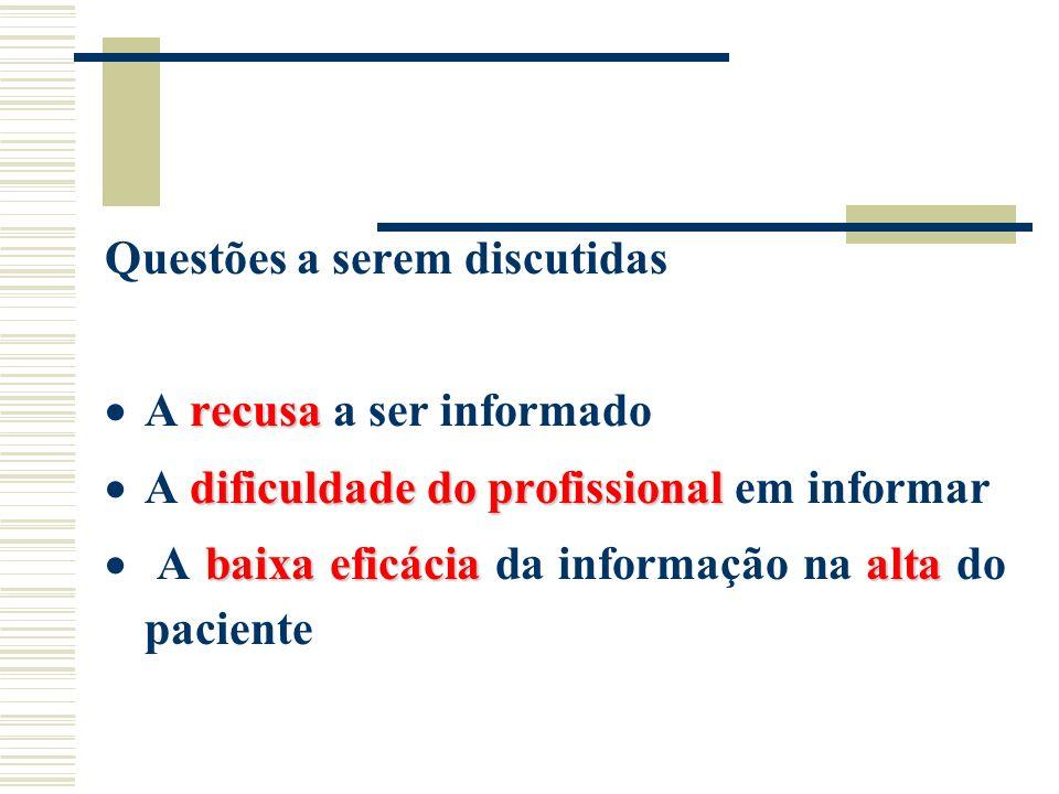 Questões a serem discutidas recusa A recusa a ser informado dificuldade do profissional A dificuldade do profissional em informar baixa eficáciaalta A