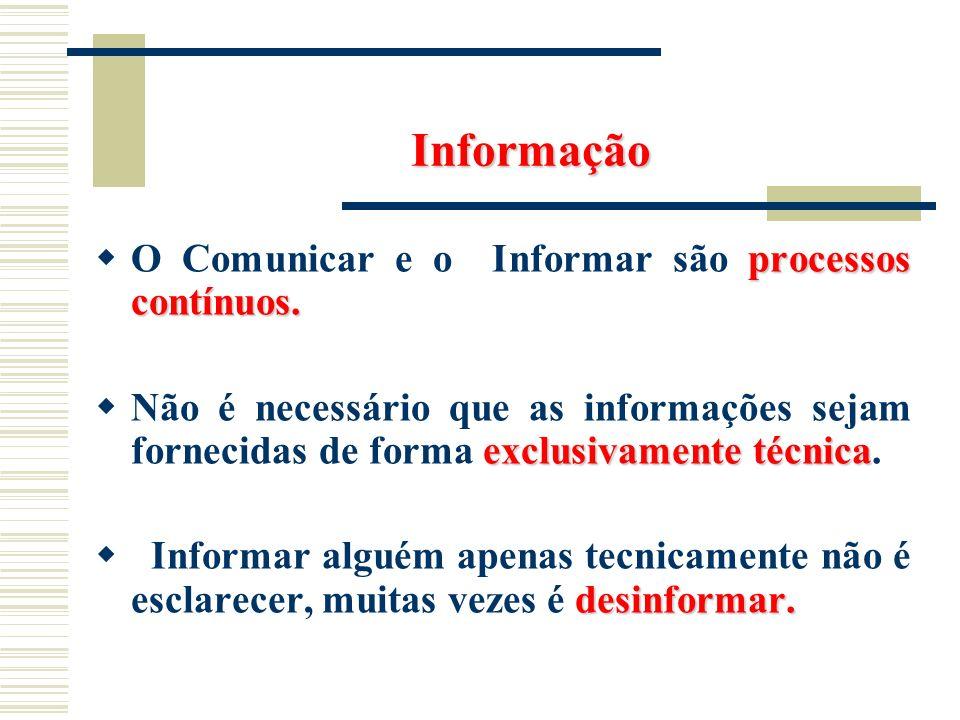Informação processos contínuos. O Comunicar e o Informar são processos contínuos. exclusivamente técnica Não é necessário que as informações sejam for