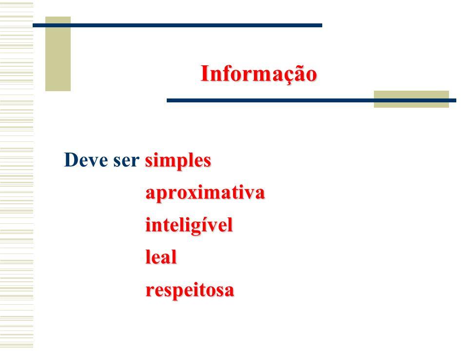 Informação simples Deve ser simples aproximativa aproximativa inteligível inteligível leal leal respeitosa respeitosa