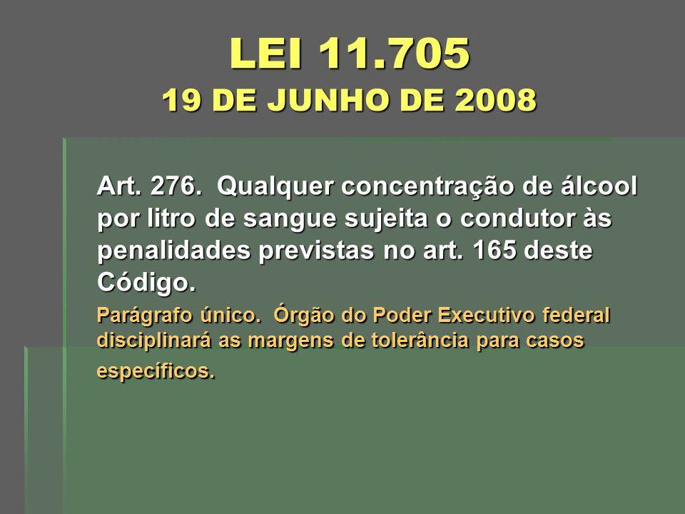 LEI 11.705 19 DE JUNHO DE 2008 Art. 276. Qualquer concentração de álcool por litro de sangue sujeita o condutor às penalidades previstas no art. 165 d