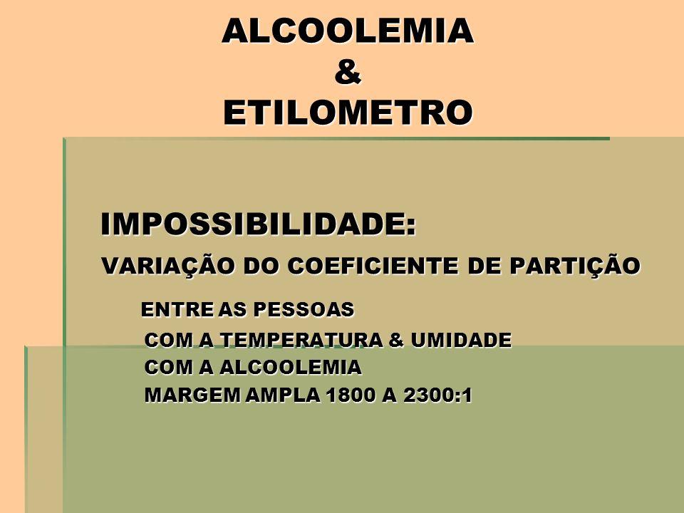 ALCOOLEMIA & ETILOMETRO IMPOSSIBILIDADE: VARIAÇÃO DO COEFICIENTE DE PARTIÇÃO VARIAÇÃO DO COEFICIENTE DE PARTIÇÃO ENTRE AS PESSOAS ENTRE AS PESSOAS COM