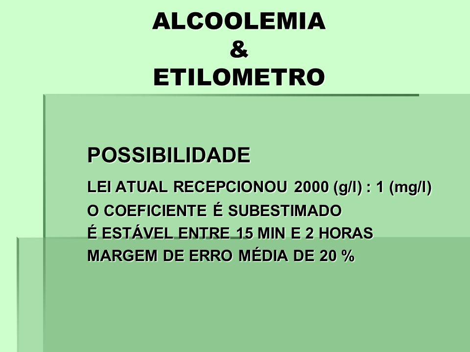 ALCOOLEMIA & ETILOMETRO POSSIBILIDADE LEI ATUAL RECEPCIONOU 2000 (g/l) : 1 (mg/l) O COEFICIENTE É SUBESTIMADO É ESTÁVEL ENTRE 15 MIN E 2 HORAS MARGEM