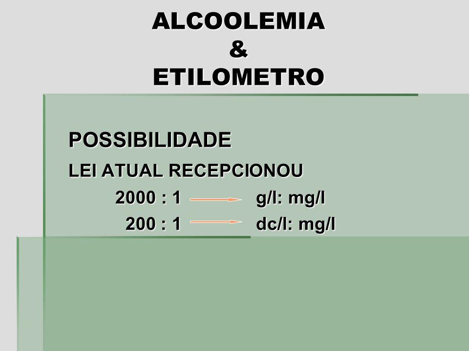 ALCOOLEMIA & ETILOMETRO POSSIBILIDADE LEI ATUAL RECEPCIONOU 2000 : 1 g/l: mg/l 200 : 1 dc/l: mg/l 200 : 1 dc/l: mg/l