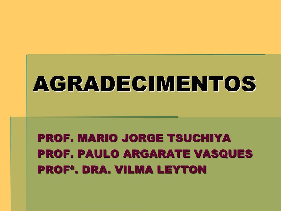 AGRADECIMENTOS PROF. MARIO JORGE TSUCHIYA PROF. PAULO ARGARATE VASQUES PROFª. DRA. VILMA LEYTON
