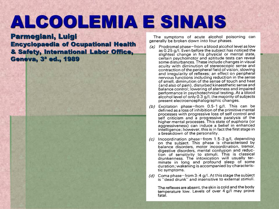 ALCOOLEMIA E SINAIS Parmegiani, Luigi Encyclopaedia of Ocupational Health & Safety, International Labor Office, Geneva, 3ª ed., 1989
