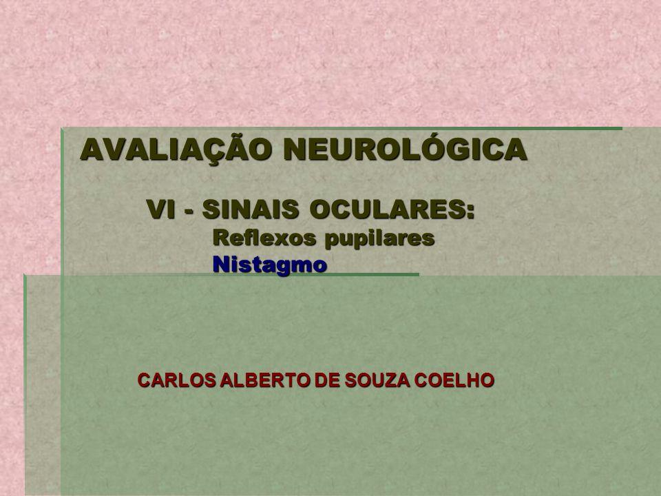 AVALIAÇÃO NEUROLÓGICA VI - SINAIS OCULARES: Reflexos pupilares Nistagmo CARLOS ALBERTO DE SOUZA COELHO