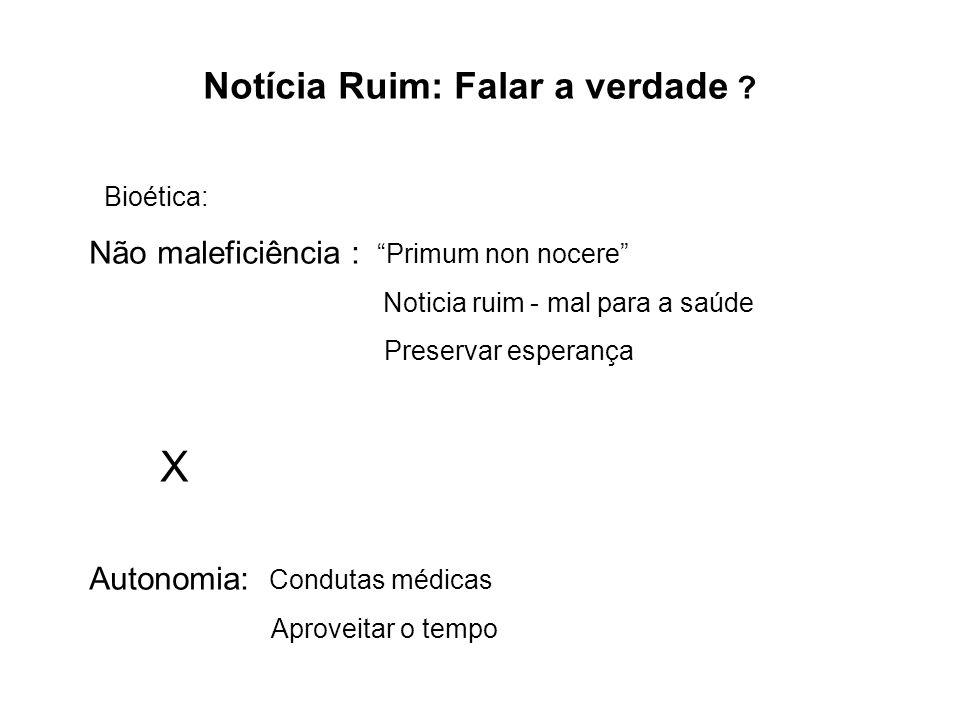 Notícia Ruim: Falar a verdade ? Bioética: Não maleficiência : Primum non nocere Noticia ruim - mal para a saúde Preservar esperança X Autonomia: Condu