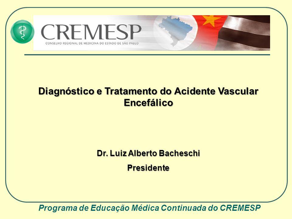 Programa de Educação Médica Continuada do CREMESP Diagnóstico e Tratamento do Acidente Vascular Encefálico Dr. Luiz Alberto Bacheschi Presidente