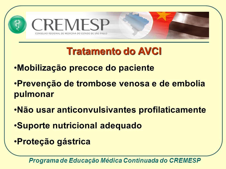 Programa de Educação Médica Continuada do CREMESP Tratamento do AVCI Mobilização precoce do paciente Prevenção de trombose venosa e de embolia pulmona