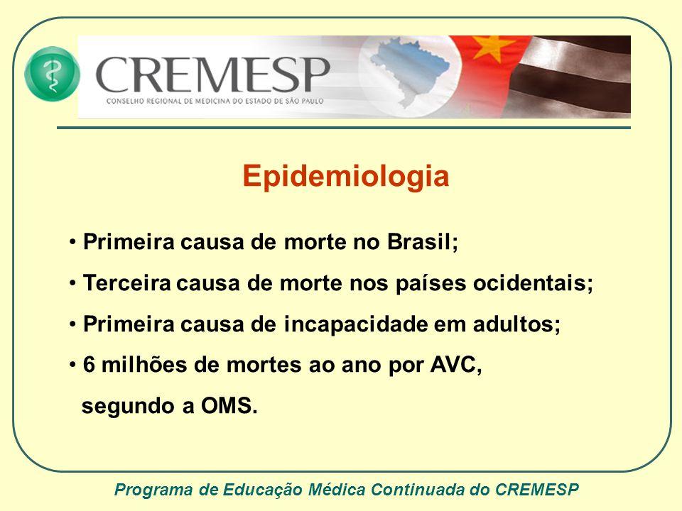 Programa de Educação Médica Continuada do CREMESP Epidemiologia Primeira causa de morte no Brasil; Terceira causa de morte nos países ocidentais; Prim