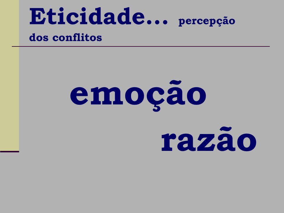 emoção razão Eticidade... percepção dos conflitos