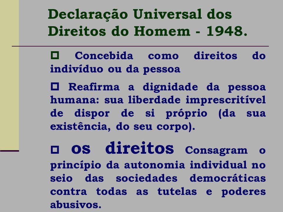 Concebida como direitos do indivíduo ou da pessoa Reafirma a dignidade da pessoa humana: sua liberdade imprescritível de dispor de si próprio (da sua