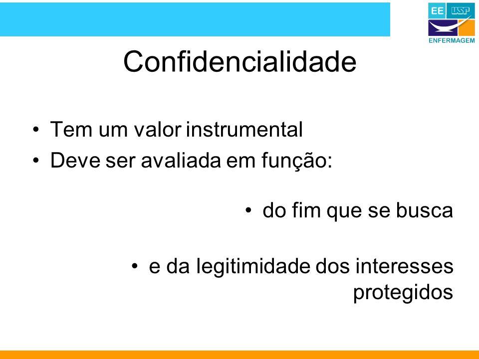 Confidencialidade Tem um valor instrumental Deve ser avaliada em função: do fim que se busca e da legitimidade dos interesses protegidos